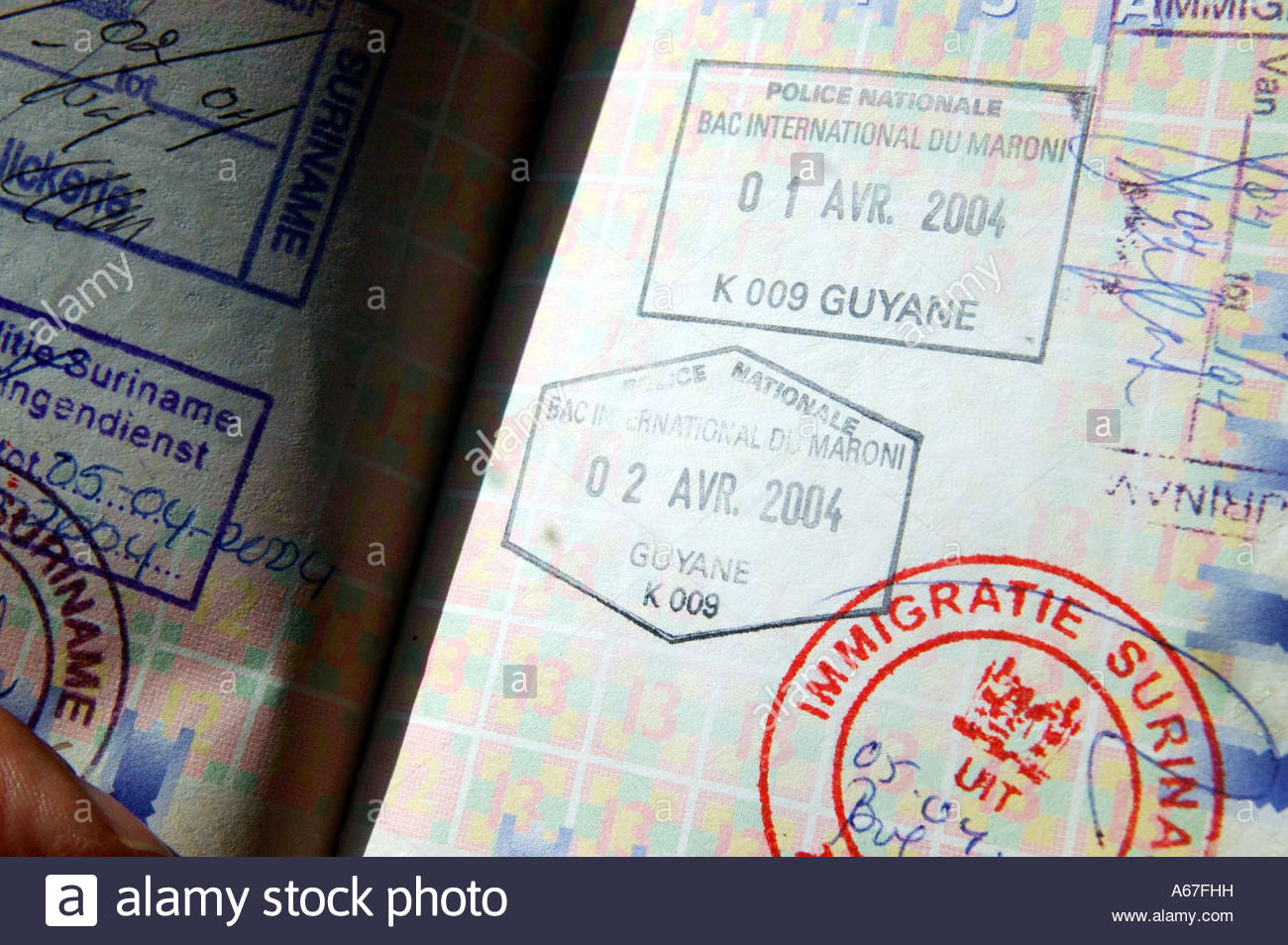 French Guyana and Suriname entry and exit stamps. Stock Photo
