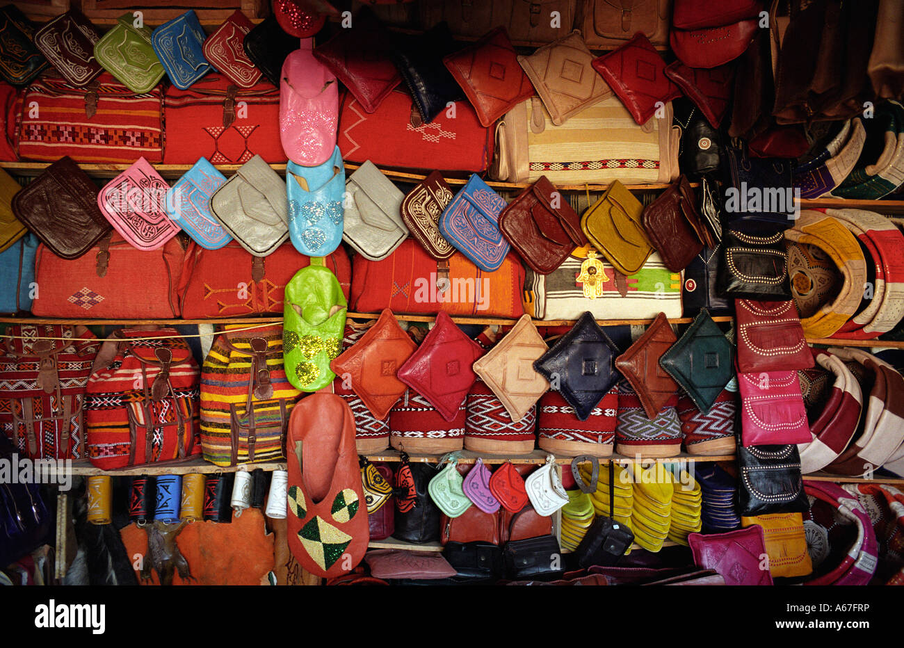 Leather Goods on Sale , the Tanneries , Fes , Morocco - Stock Image