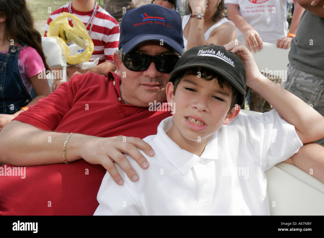 Hispanic family activities Spanish Miami Miami Florida Kendall Family Festival Of The Arts Disabled Children Activities Hispanic Boy Father Alamy Miami Miami Florida Kendall Family Festival Of The Arts Disabled