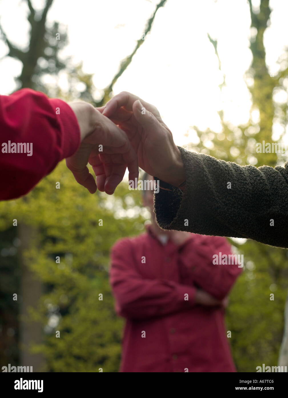 two people touching hands in woodland setting close up - Stock Image