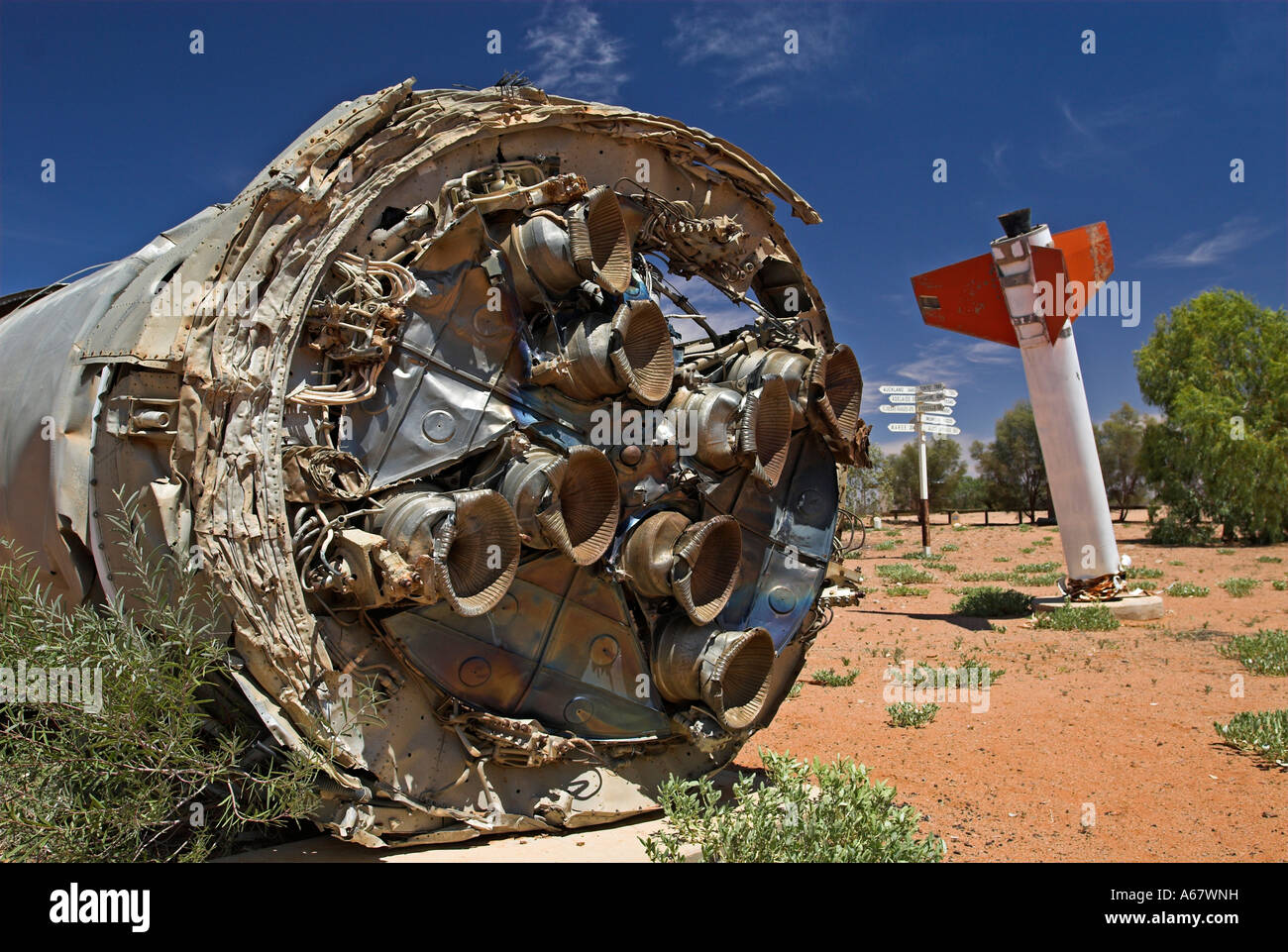 Remains of british rockets in William Creek, South Australia, Australia - Stock Image