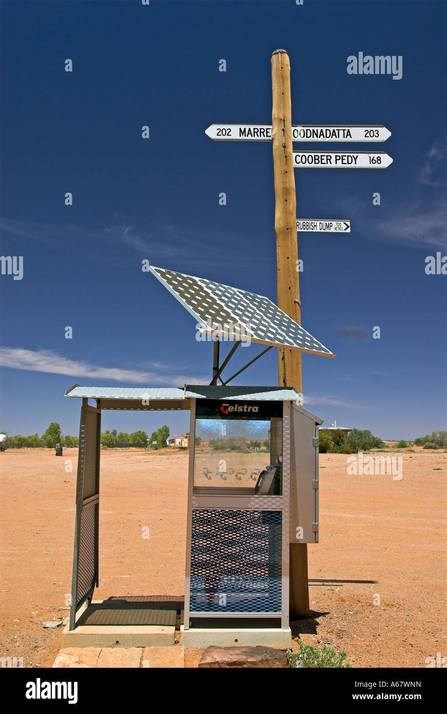Phone booth driven by solar energy in William Creek, South Australia, Australia - Stock Image