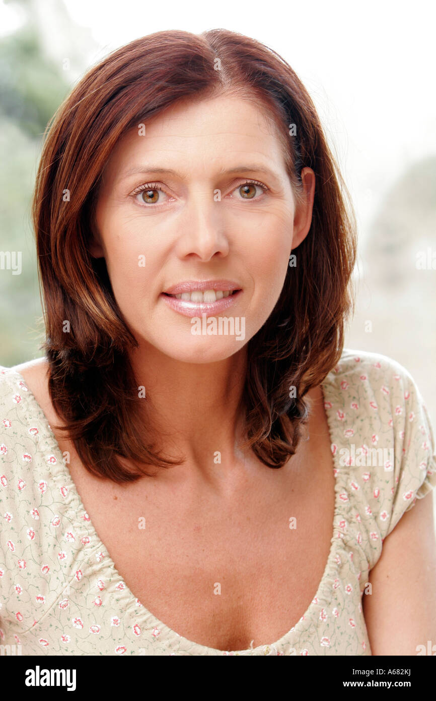Portrait of a 45 year old woman - Stock Image