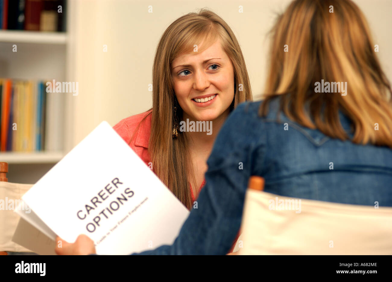 young woman receiving careers advice - Stock Image