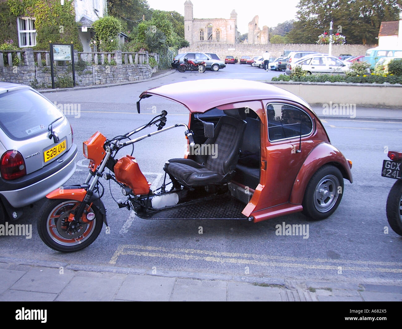 Vintage classic VW beetle trike parked in Glastonbury Somerset England - Stock Image