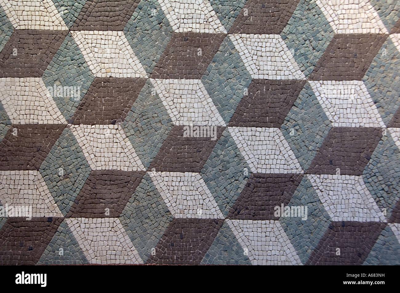 Ancient geometric roman mosaic displayed at Museu Nazionale Romano ( Palazzo Massimo Alle Terme ) Rome Italy - Stock Image