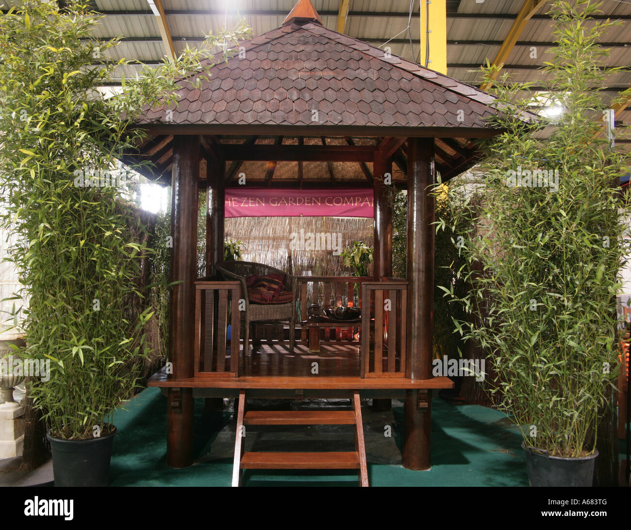 Balinese gazebo from the Zen Garden Company - Stock Image