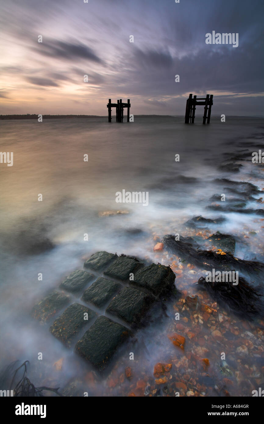 Remains of D-Day embarkation pier on the south coast, Lepe Beach, Hampshire - Stock Image