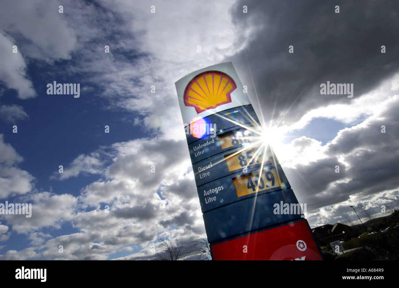 A Shell petrol station sign on the A23 at Hickstead East Sussex 85p petrol 40.9p diesel - Stock Image