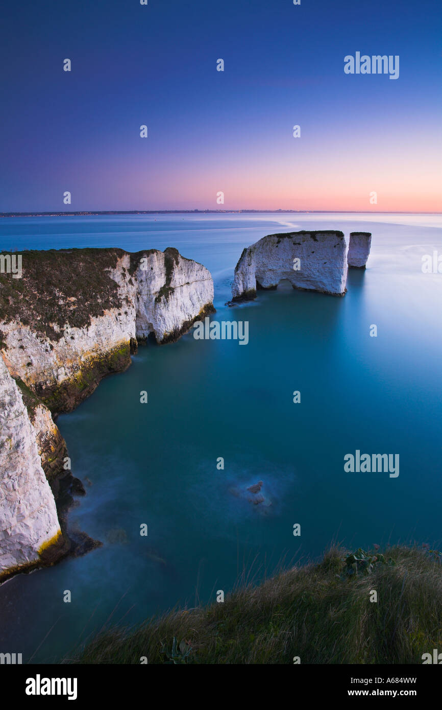 Old Harry Rocks at the beginning of the Jurassic Coast World Heritage Site, Dorset - Stock Image