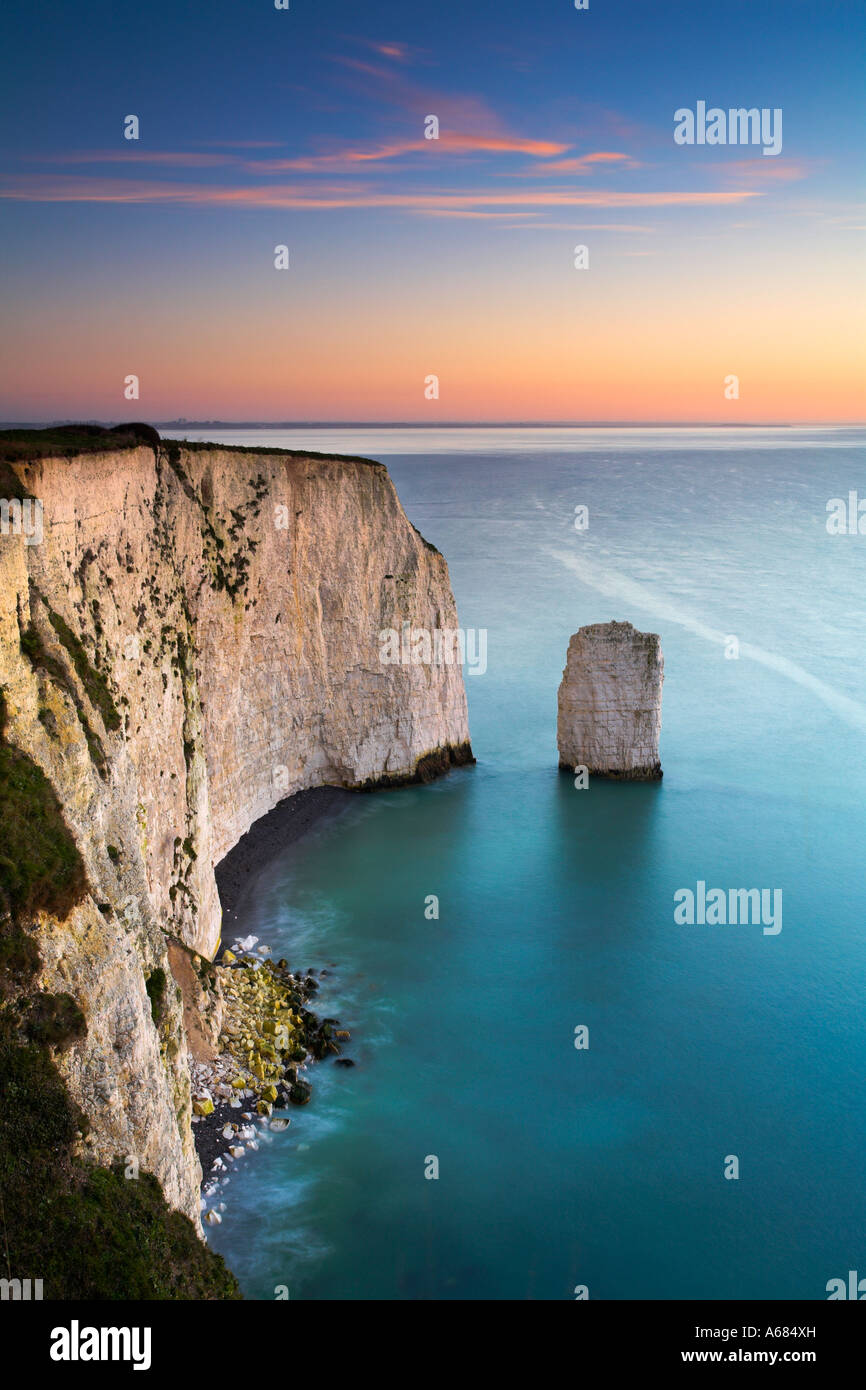 Chalk cliffs and sea stack along Ballard Down, near to Old Harry Rocks, Dorset - Stock Image
