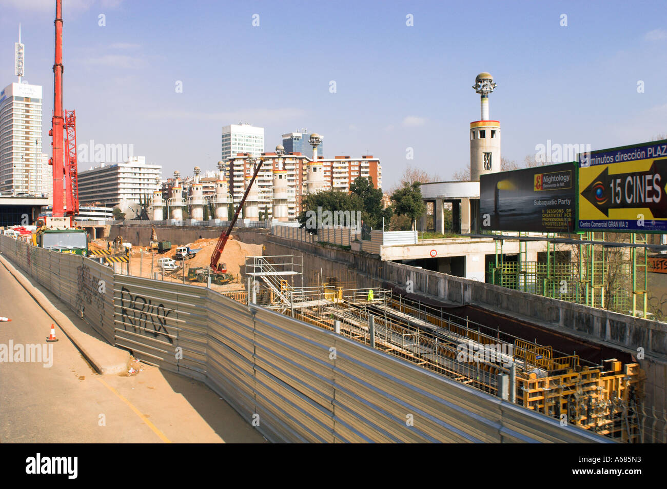 Spain Barcelona At Sans central railway station construction work for new high speed Ave train The city is full of cranes - Stock Image