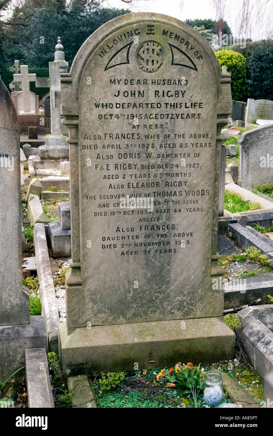 The headstone of Eleanor Rigby the person made famous in the song by the Beatles. - Stock Image