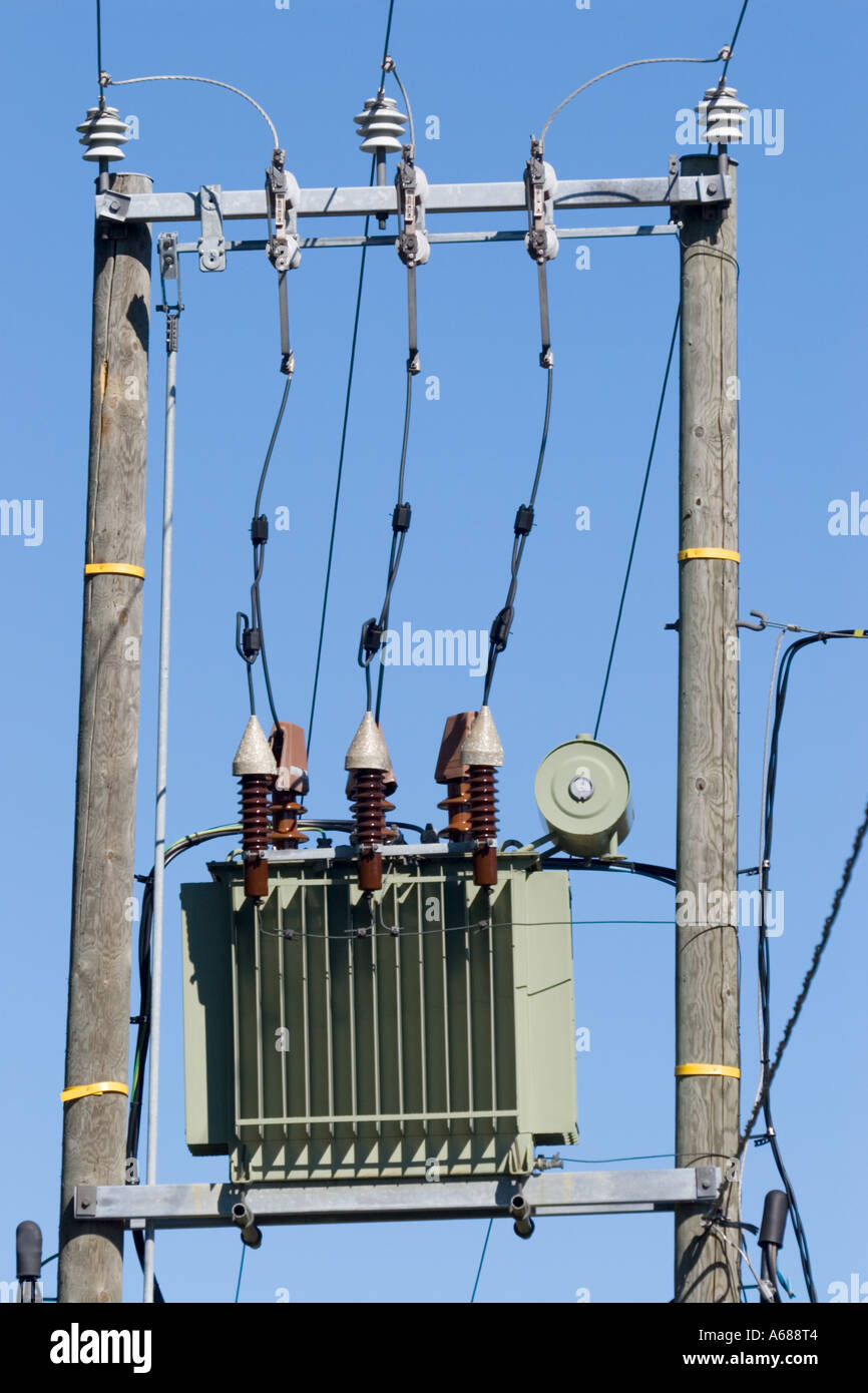 Small step-down transformer connected to 110 kilovolt power lines.  Transforms voltage down to