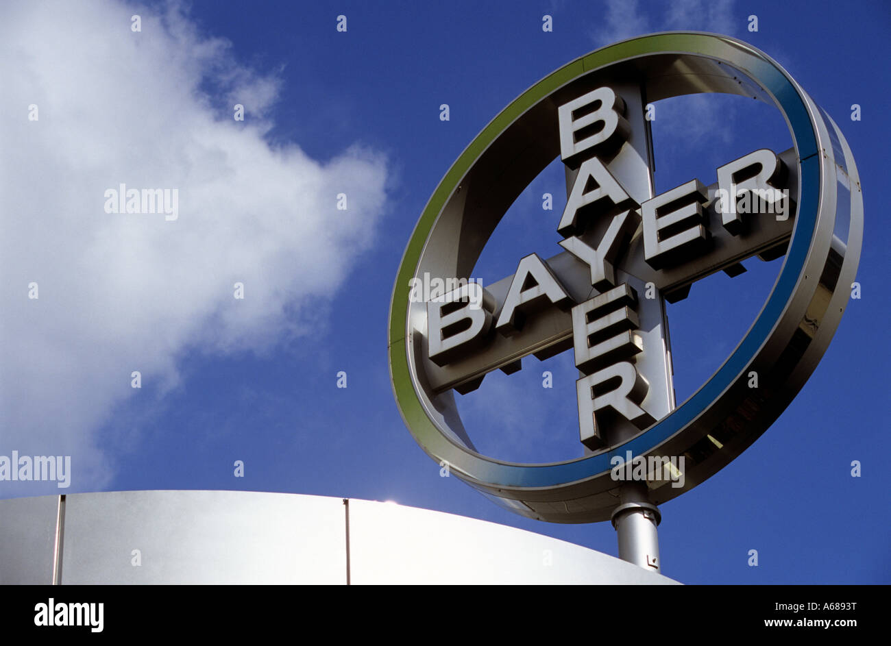 Bayer AG corporate logo in Leverkusen, North Rhine-Westphalia, Germany. - Stock Image