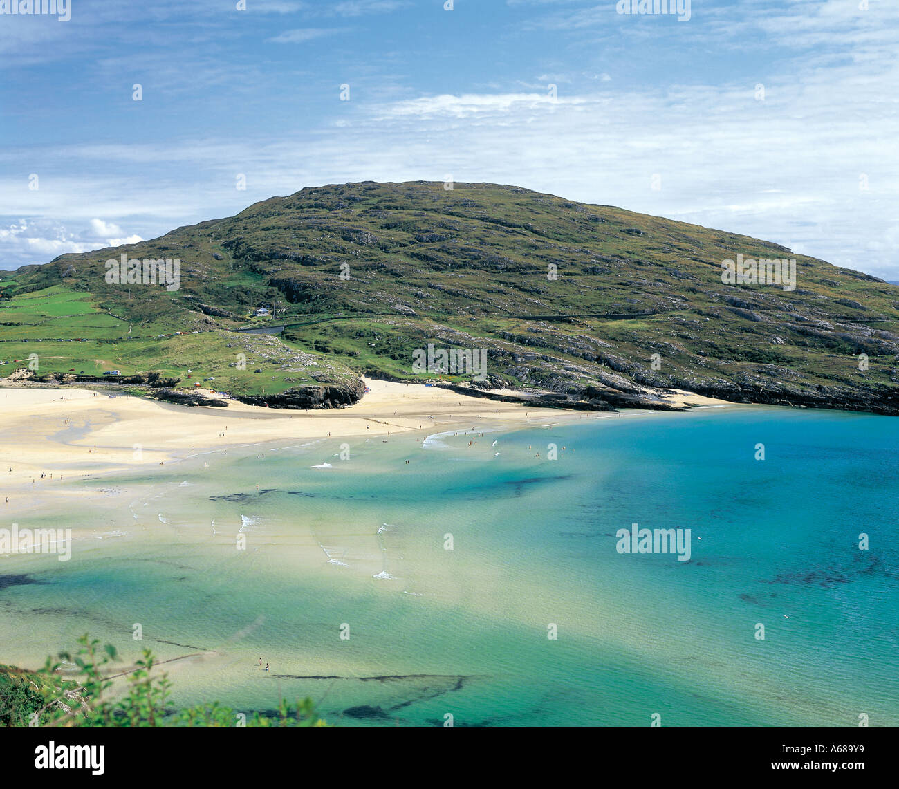 barley cove beach, mizen head, county cork ireland, tropical looking sandy beach with torquise  colored waters, beauty in nature - Stock Image