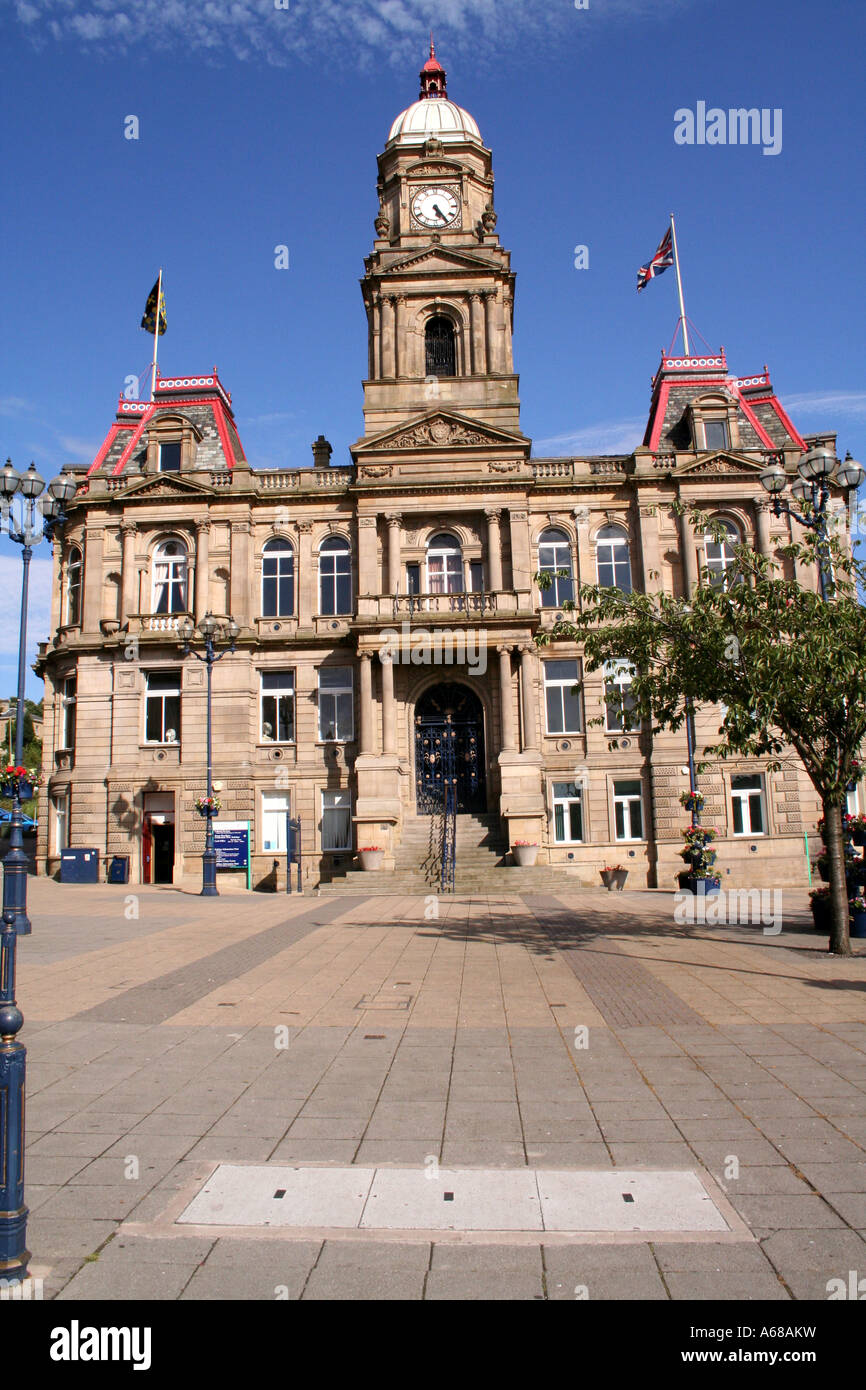 Dewsbury Town Hall opened on September 17 1889 Designed by local architects Holtom Fox - Stock Image
