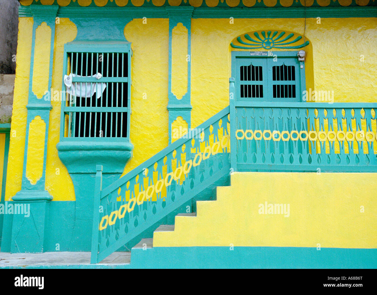 Colored house, Santiago, Atitlan, Guatemala. - Stock Image