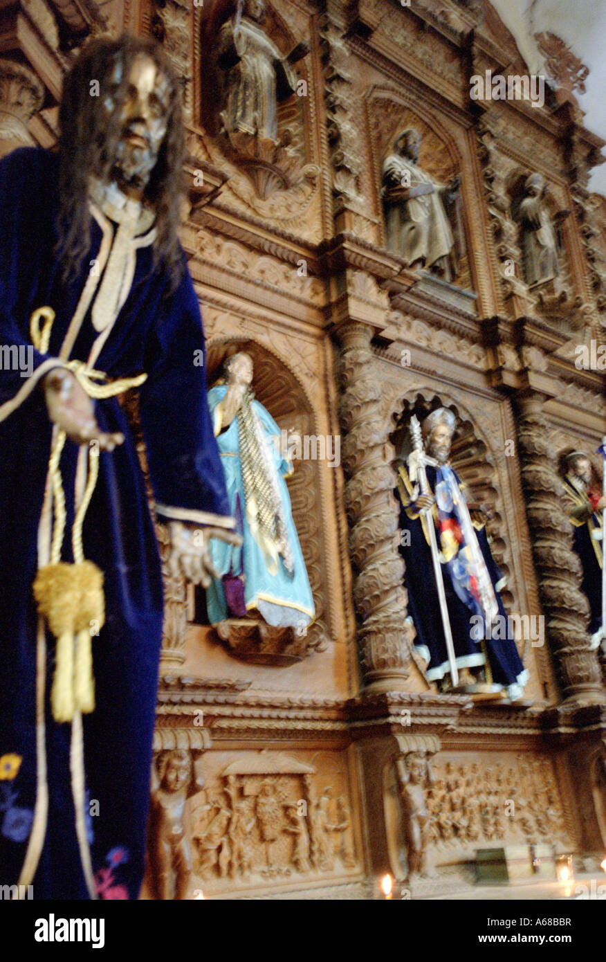 Religeous statues inside church at Santiago, Lake Atitlan, Guatemala. - Stock Image