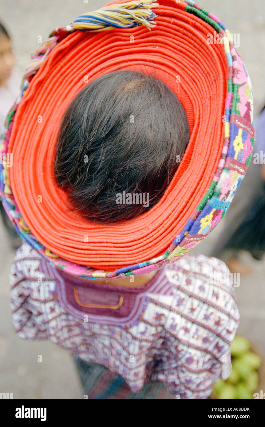 Traditional Head Dress, Woman, Santiago, Atitlan, Guatemala. - Stock Image
