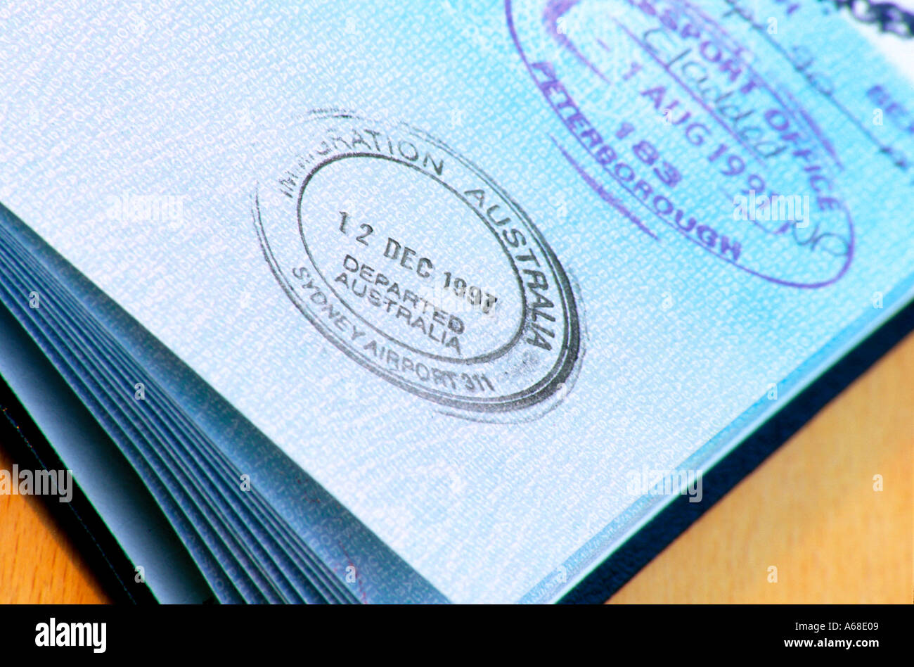 A British UK Passport With Australian Exit Stamp Open On Page Showing Immigration Control
