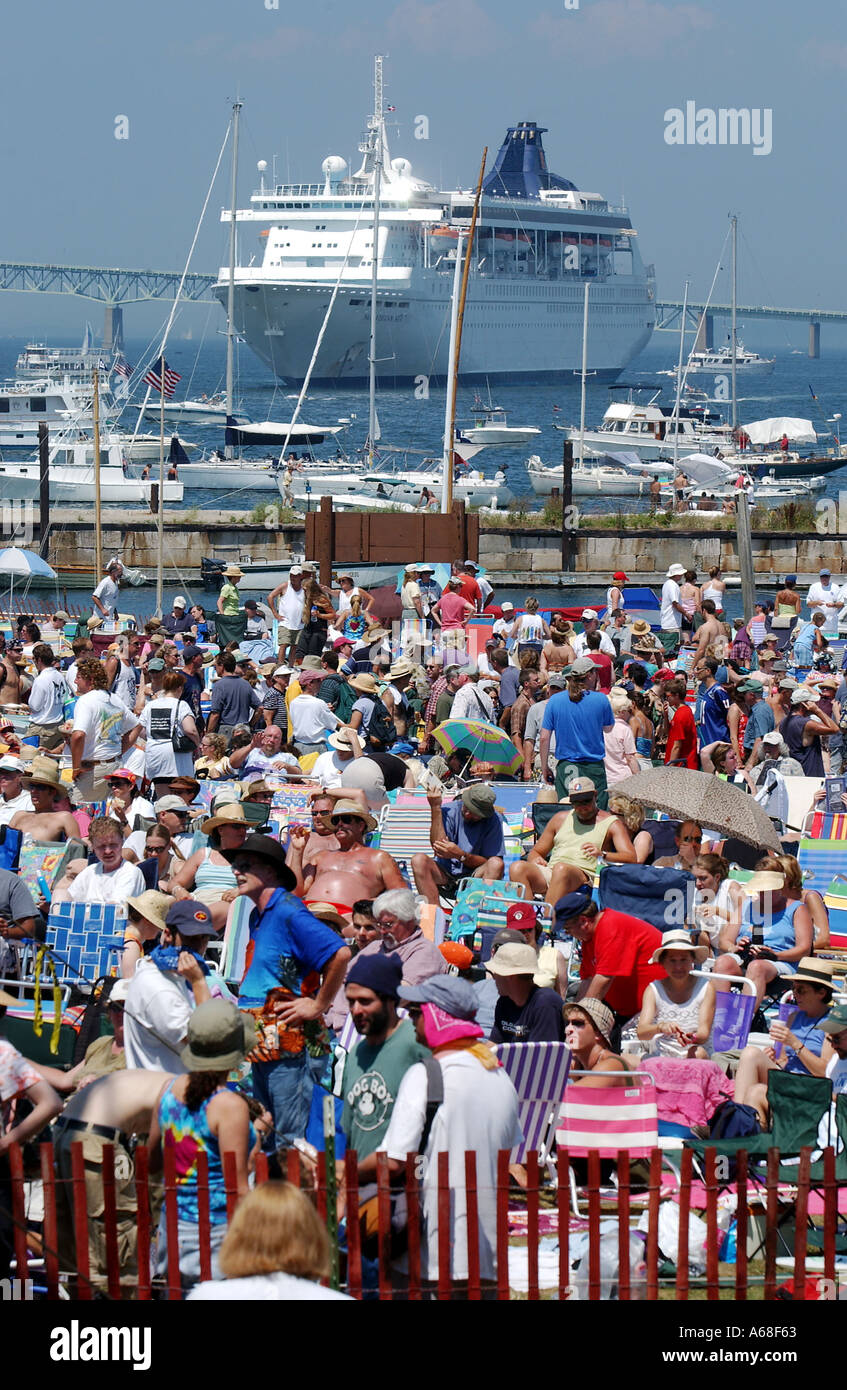 Crowd at the Newport Folk and Jazz Festival, Rhode Island - Stock Image