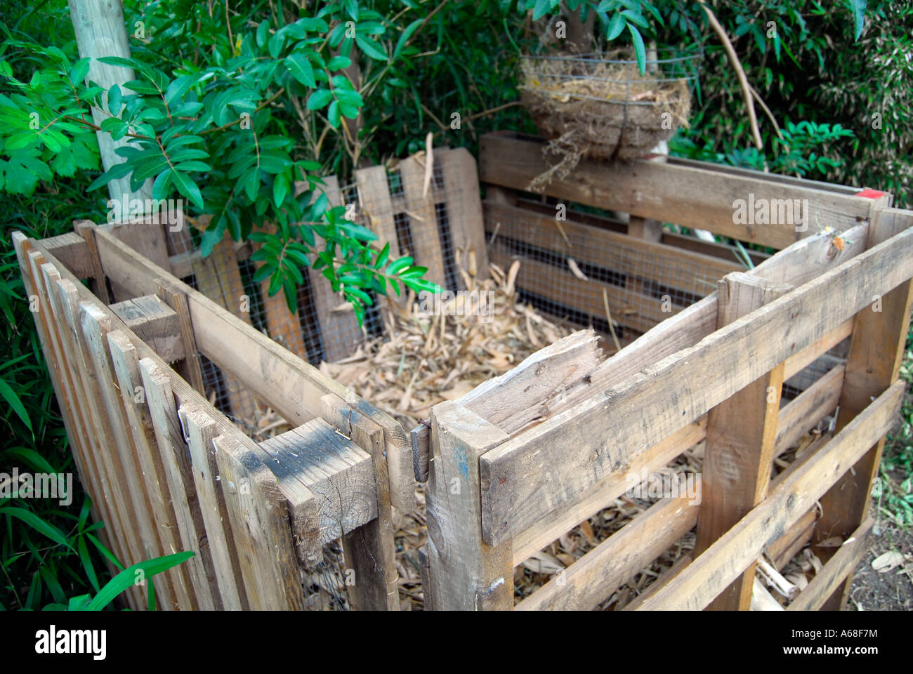 Compost Bin Made Of Recycled Pine Pallets Stock Photo 11495431 Alamy