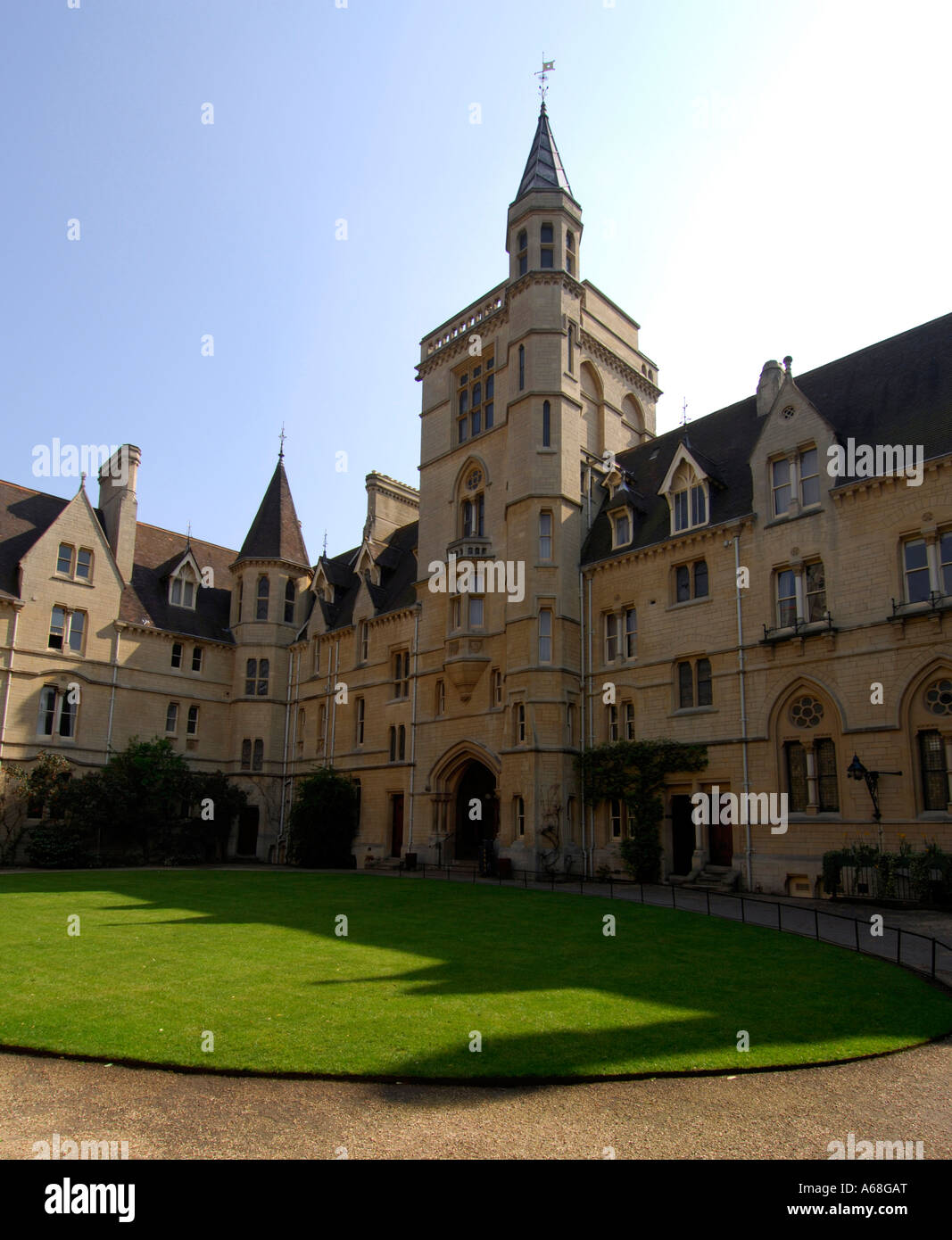 Balliol College Front Quad and Gate Tower - Stock Image