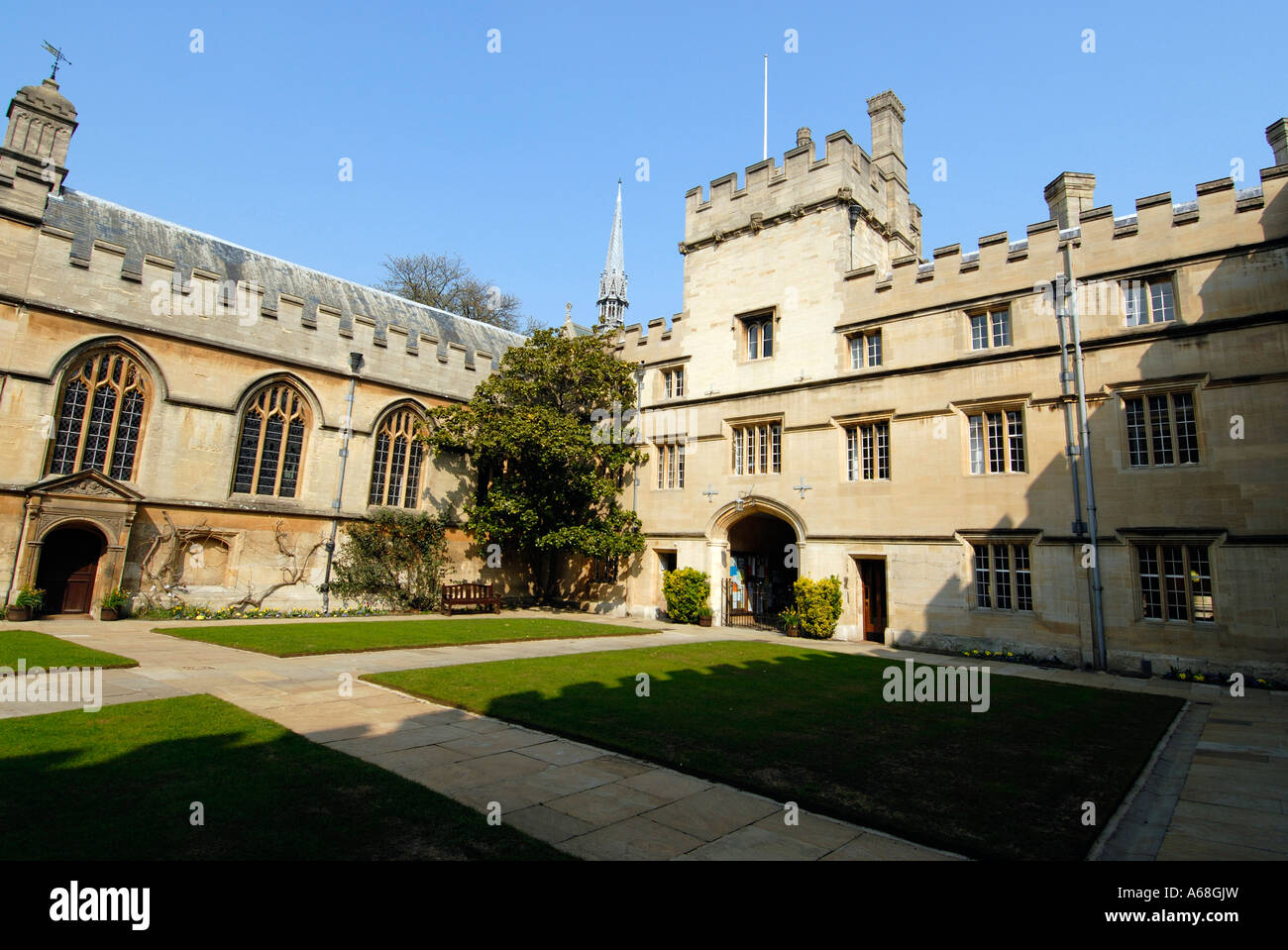Jesus College Front Quad and Gatehouse Oxford - Stock Image