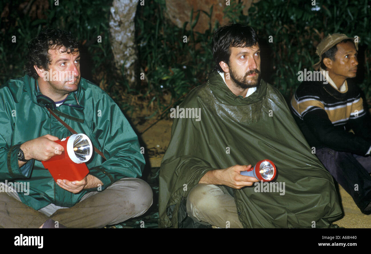 Authors Douglas Adams and Mark Carwardine in Madagascar - Stock Image