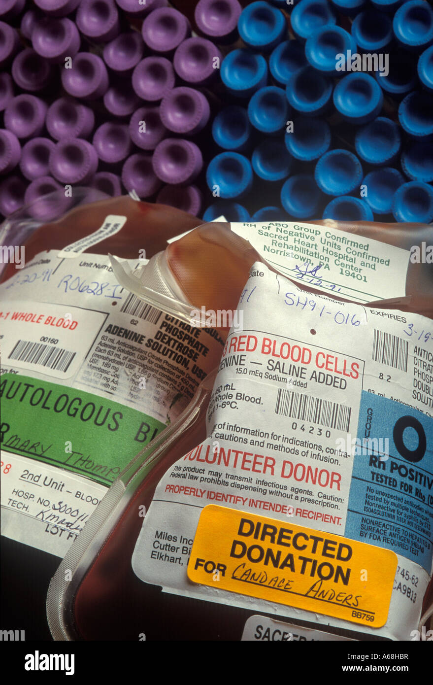 Self directed blood donation for prospective surgical and other patients Insures availability and compatibility. - Stock Image