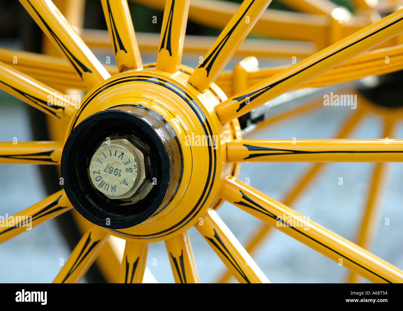 Horse carriage wheel detail outside the Cathedral Seville Spain - Stock Image