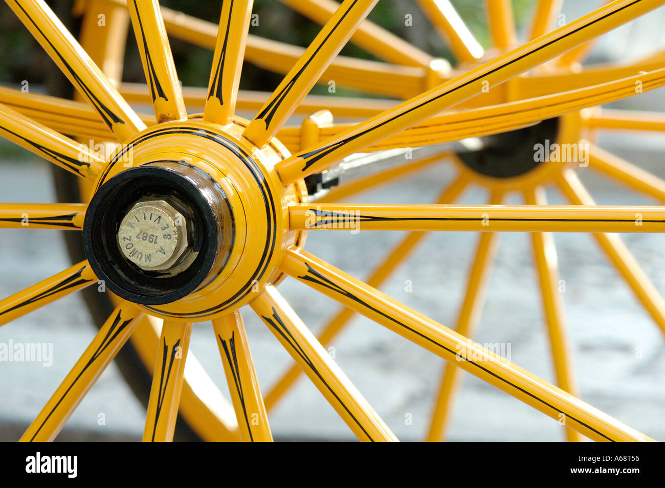 Horse carriage outside the Cathedral Seville Spain wheel detail - Stock Image