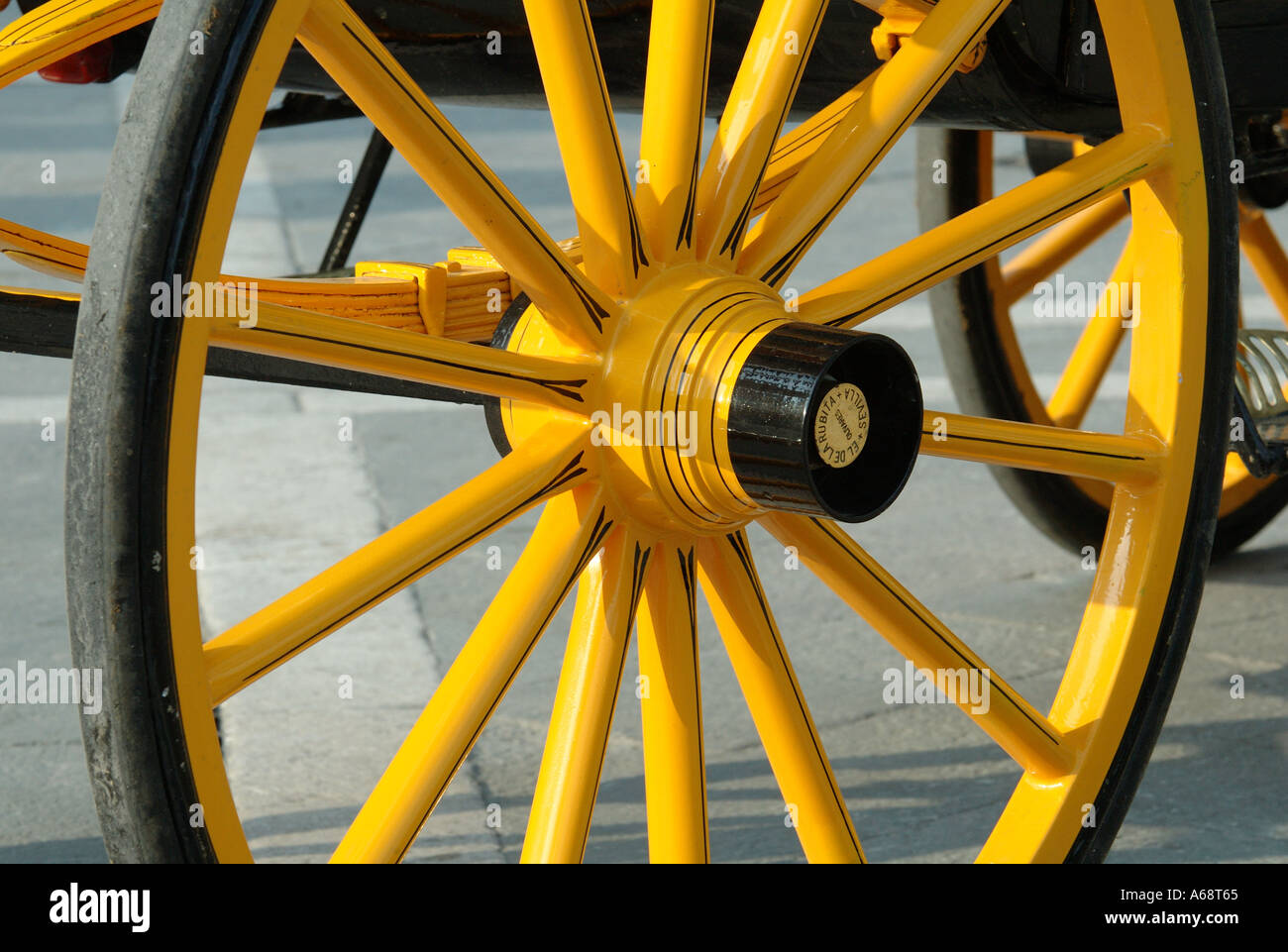 Horse carriage wheel detail Seville Spain  - Stock Image