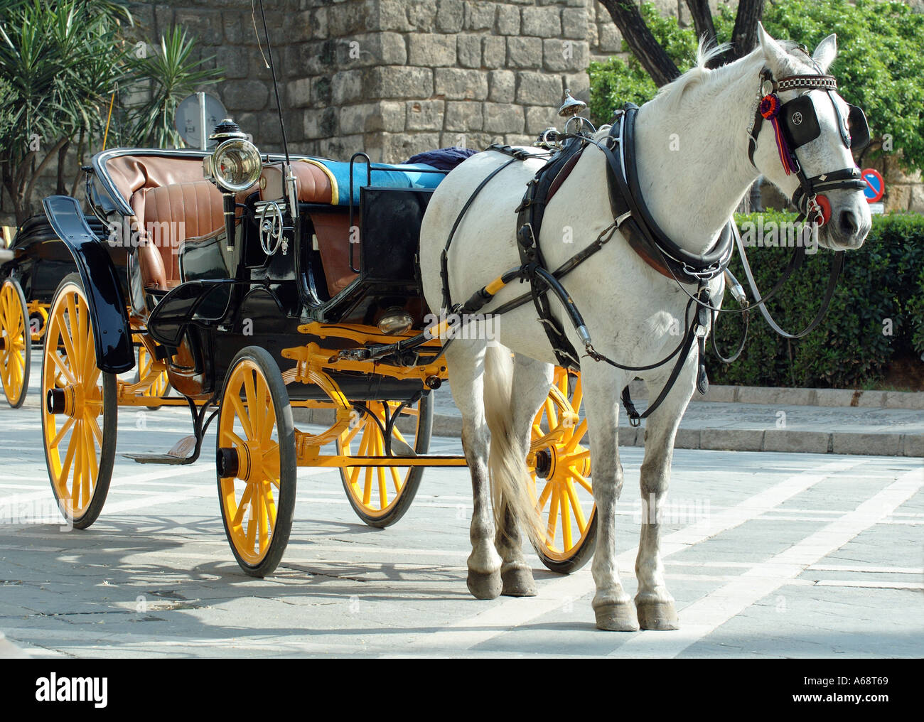 Horse and Carriage in Patio del Triunfo Seville Spain - Stock Image
