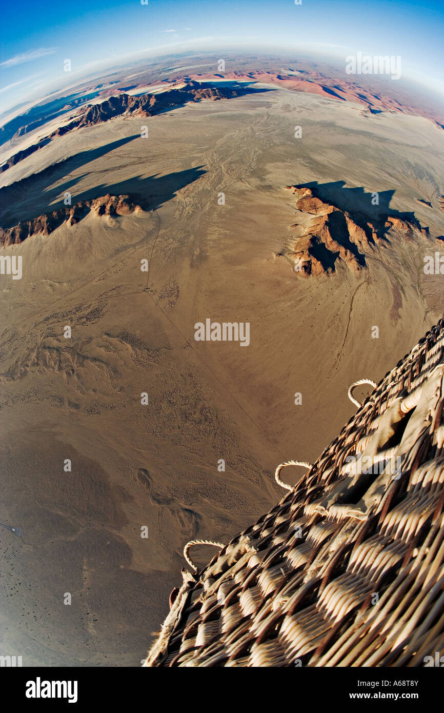 Aerial view from hot air balloon over the Namib desert Property Released Namib Naukluft Park Namibia - Stock Image