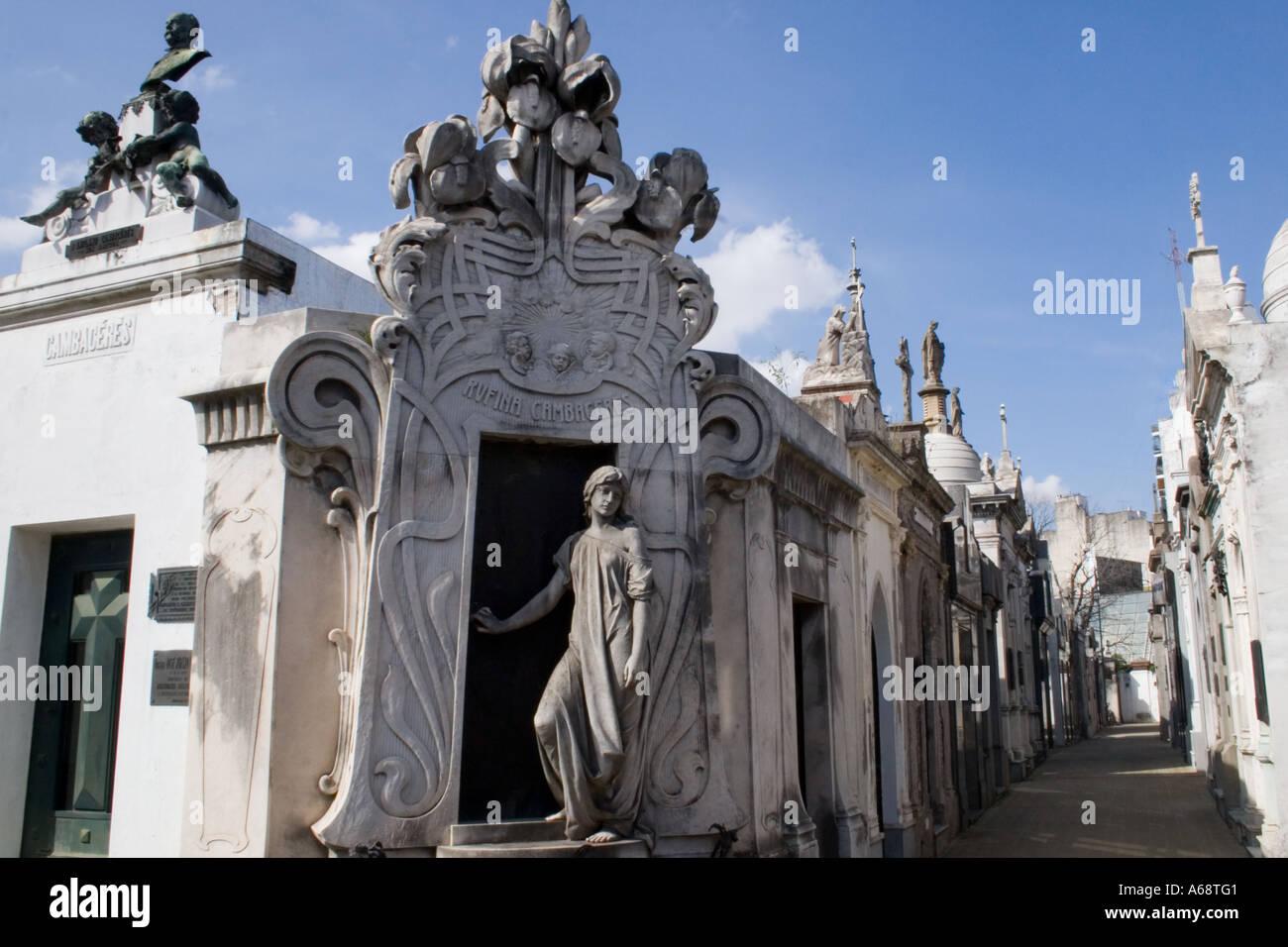Cambaceres Tomb (Recoleta) Stock Photo