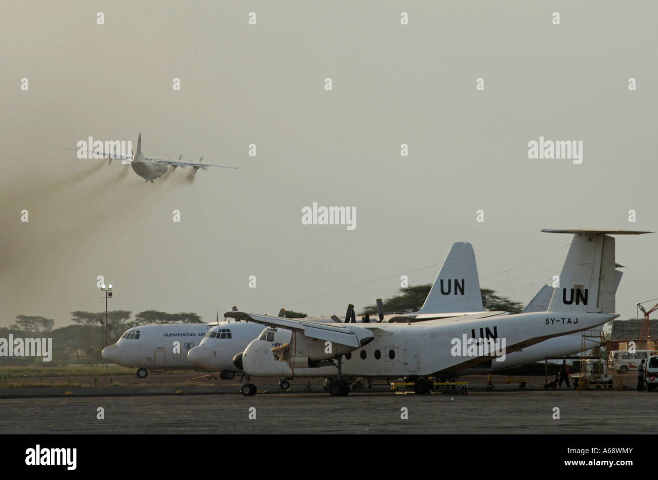 UN air planes at Lokichoggio airport (Kenya) flying food aid to southern Sudan - Stock Image