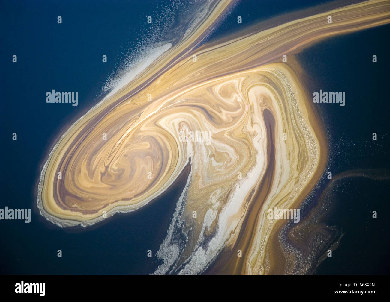Aerial view of plankton floating in the open waters of Lake Natron,  Tanzania - Stock Image