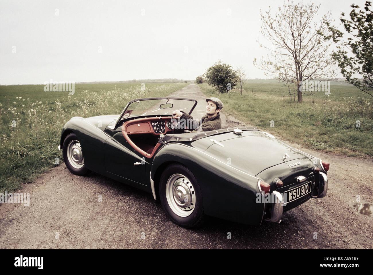 posh bloke in car - Stock Image