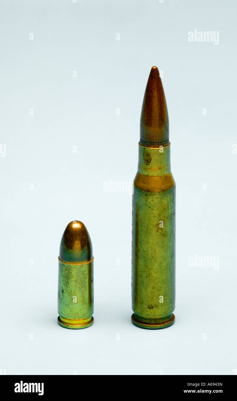 Pistol and rifle bullets - Stock Image