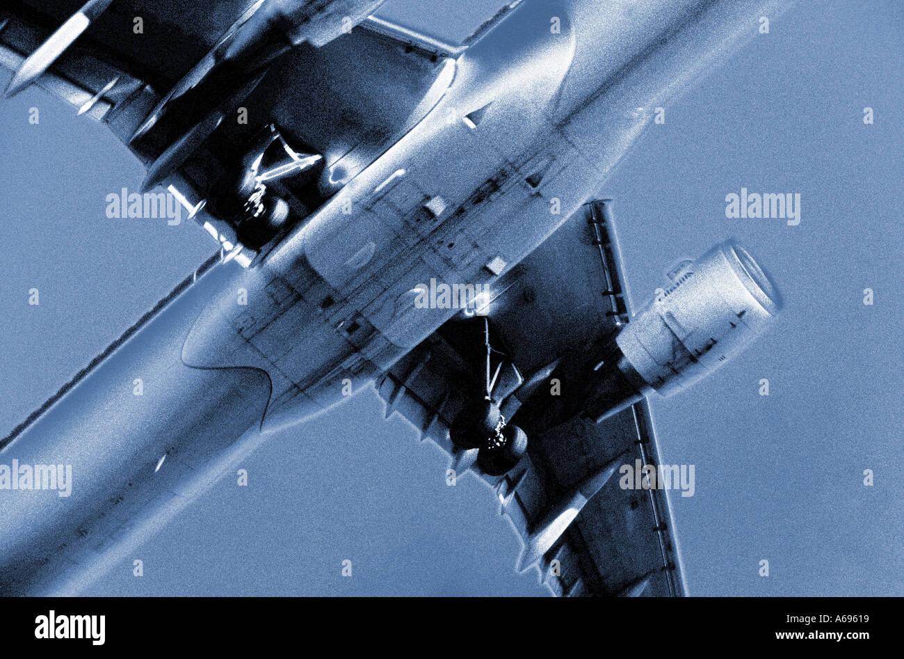 Alitalia plane overhead on landing approach into London Heathrow airport - Stock Image