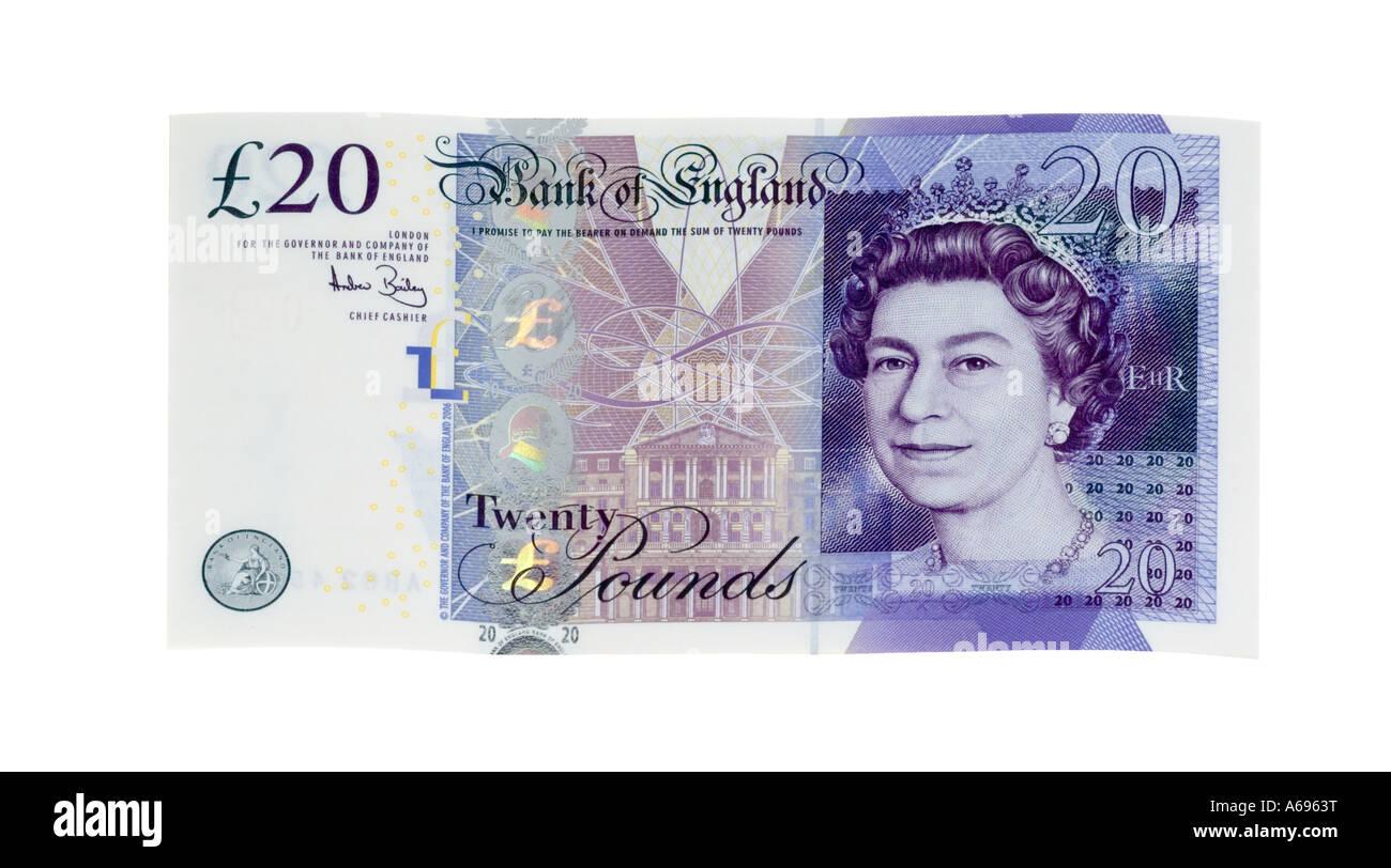 British new 2007 twenty pound note - Stock Image
