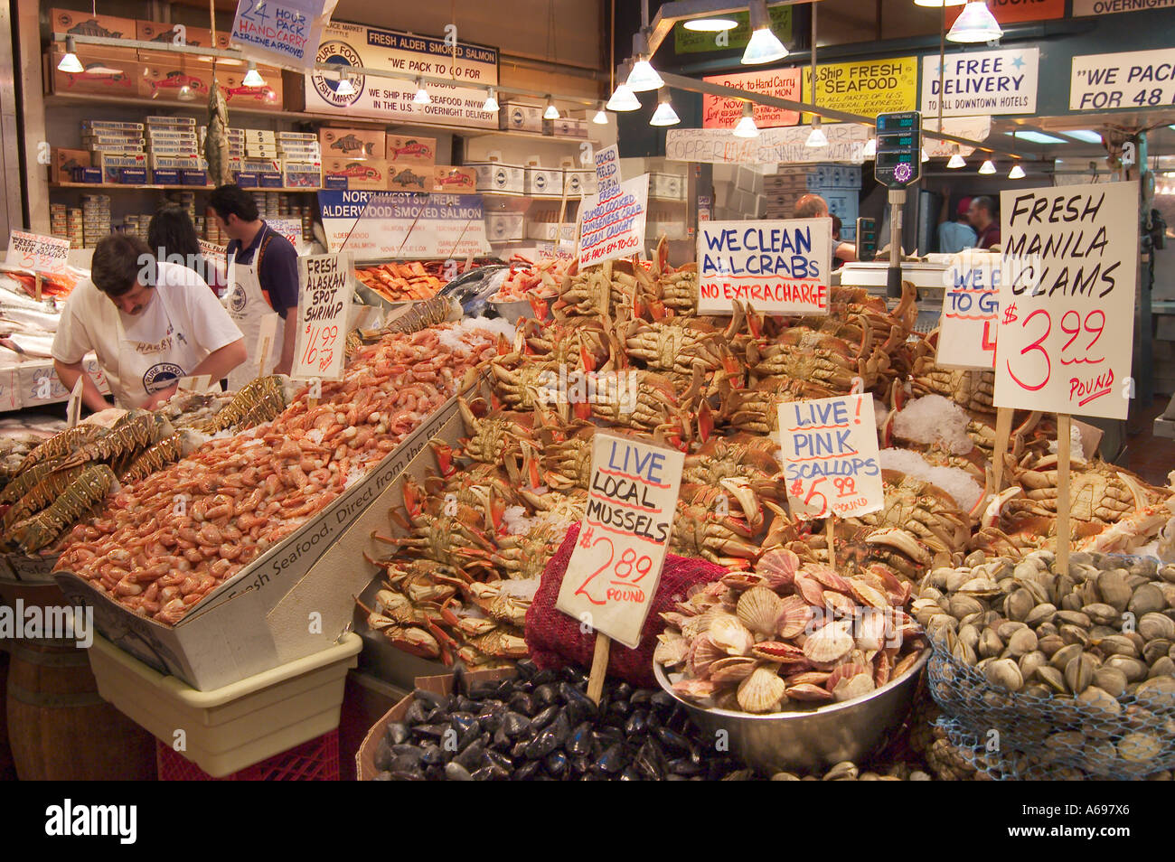 Fresh seafood for sale at pure food fish market pike place for Pacific fish market