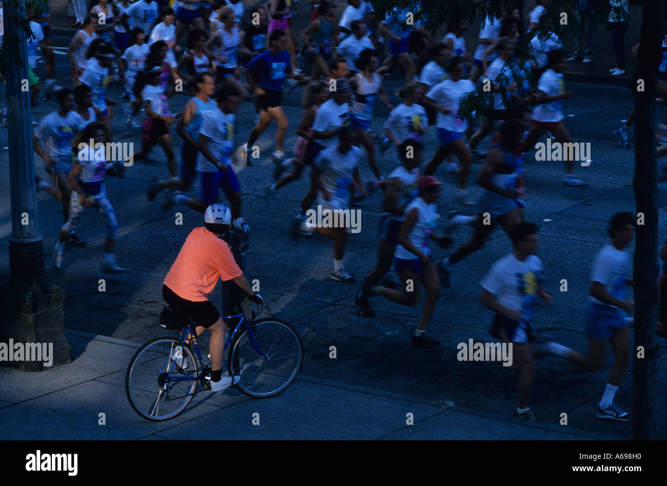 Marathon race downtown Seattle blurred runners, Seattle, Washington USA - Stock Image