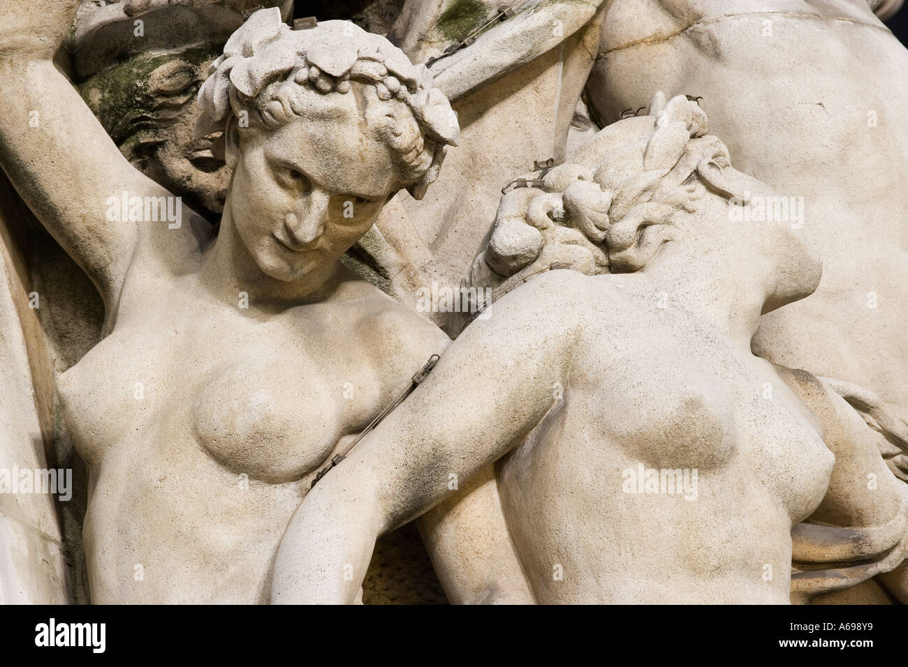 France, Paris, 9th arr., façade detail of Opera (Palais Garnier), statues, building in background - Stock Image