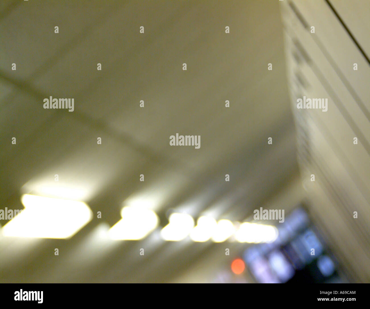 Blurred architectural abstract of hallway lighting. - Stock Image