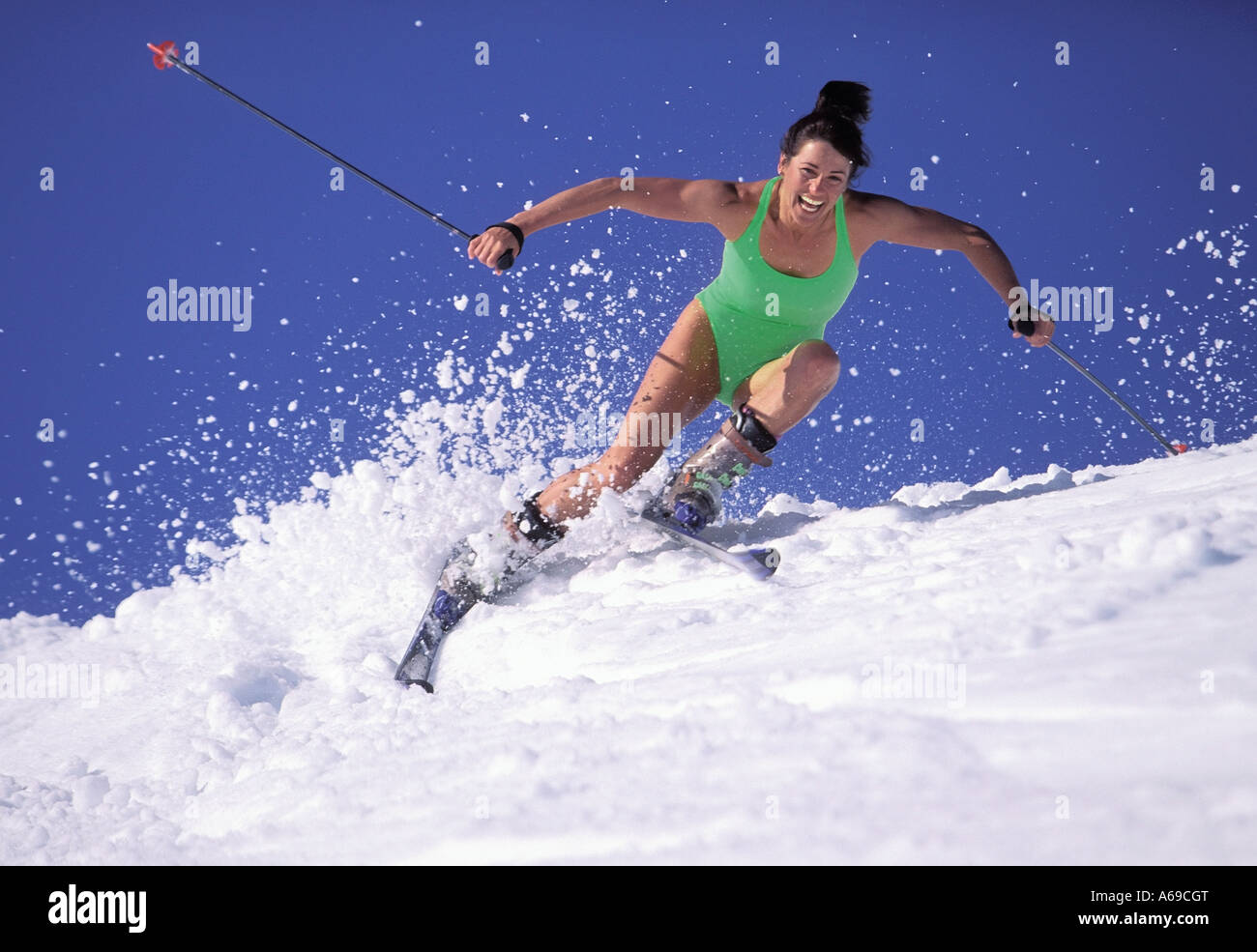spring skiing skiing whistler british columbia canada stock photo