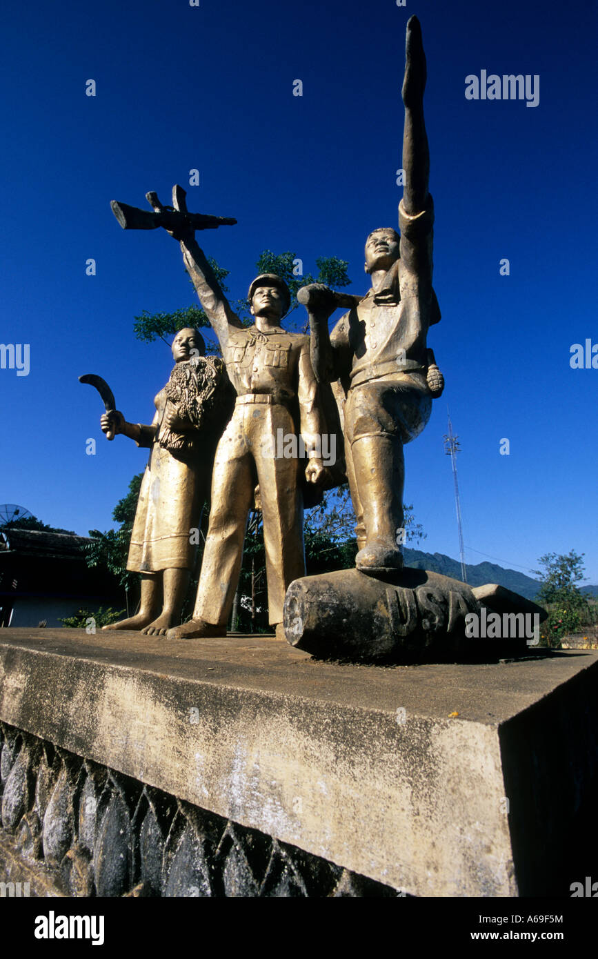 Monument commemorating the war between the Pathet Lao and the United States and his allies, Viengxai, Laos. - Stock Image