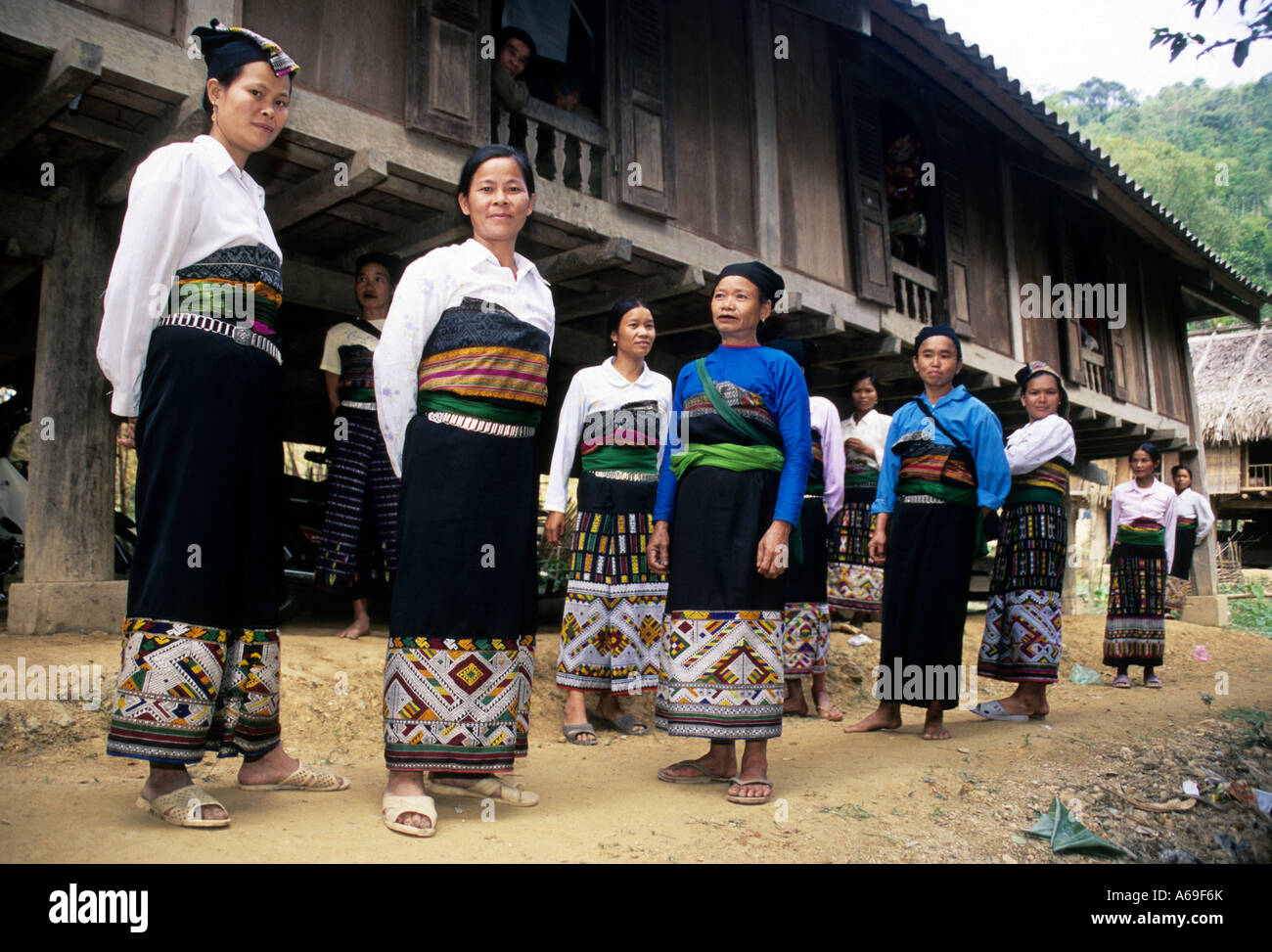 Group of Muong women in a village in Northern Vietnam Stock Photo